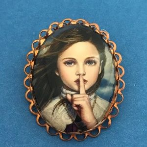 Quiet Girl Portrait Style Brooch Pin Copper Tone